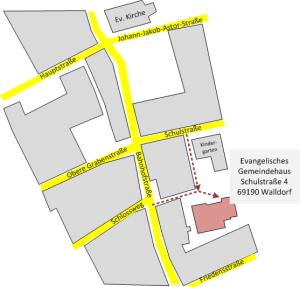 Wegbeschreibung Gemeindehaus Schulstraße 4 in Walldorf
